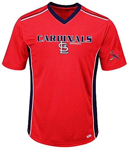 VF St. Louis Cardinals MLB Mens Cool Base Performance V Neck Jersey Red Big Sizes (4XL)