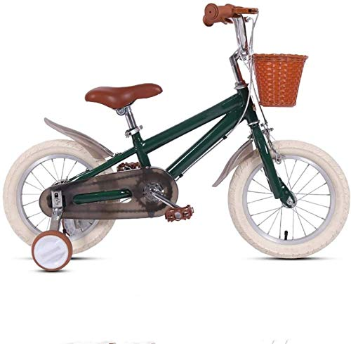 HCMNME Durable Bicycle Kids Bike with Training Wheel, 14' 16' 18' Child's Bicycle with Basket & Hand Brake for 2-7 Years Old, Boys Girls Toddler Bicycle with 85% Assembled Alloy Frame with Disc