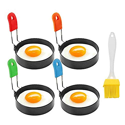 Beada Non Stick Egg, Egg Rings with Silicone Handle, Egg Cooking Rings Set for Frying Eggs Griddle Egg Making