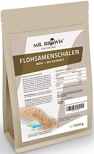 Mr. Brown Flohsamenschalen Mehl gemahlen Pulver 1kg, vegan, 99% Reinheit