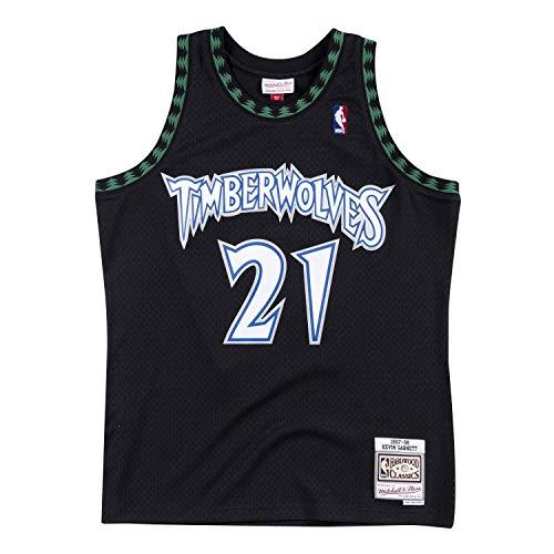 Mitchell & Ness - Camiseta réplica de Kevin Garnett Minnesota Timberwolves Swingman 1997-1998, Medium, Negro