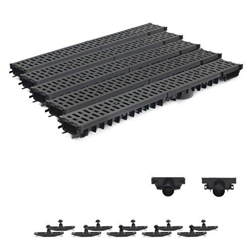 5m Entwässerungsrinne Terrassenrinne Stegrost Kunststoff komplett SET, System A15 70mm, Schwarz Classic, NEUHEIT Rinne mit integrierter Dichtung Klick System