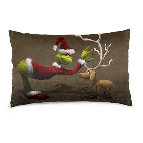 Yoaug Christmas Decor Green Grinch Cushion Covers Throw Cover Pillowcase Hidden Zipper for Couch Sofa Home Decoration 16'x24'