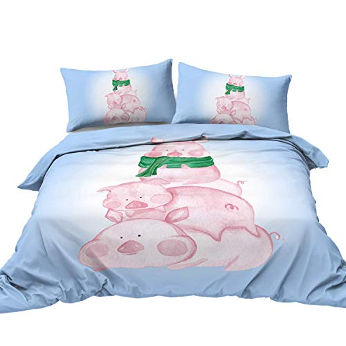 Akvarell gris påslakan sängset 3 st Kawaii söta grisar påslakan sängkläder set 3D rosa gris blå tecknad sängkläder överdrag (super king)