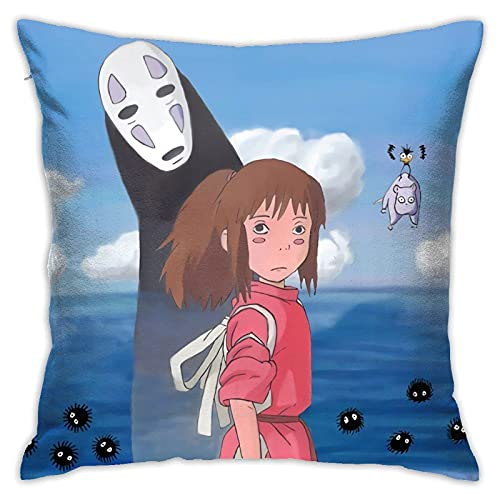 Spirited Away - Fundas de almohada decorativas de anime (45,7 x 45,7 cm), diseño de anime