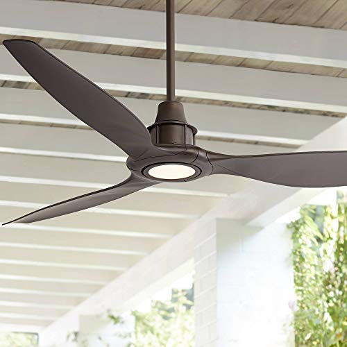 "58"" Interceptor Modern Outdoor Ceiling Fan with Light LED Dimmable Remote Control Oil Rubbed Bronze Damp Rated for Patio Porch - Casa Vieja"