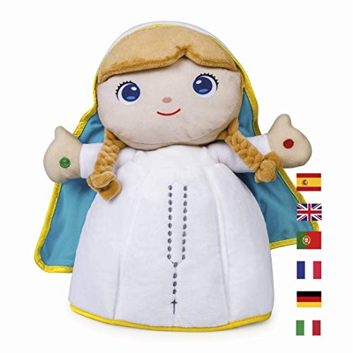 Peluche Virgen María 2.1 30 cm. Oraciones 6 Idiomas. Pulsa