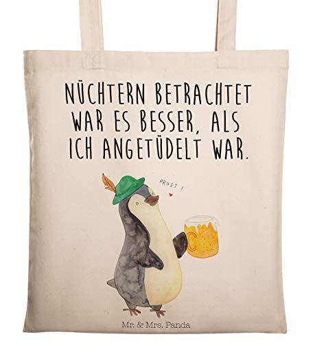 Mr. & Mrs. Panda Jutebeutel, Tasche, Tragetasche Pinguin Bier mit Spruch - Farbe Transparent