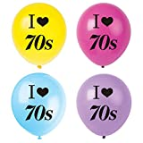 MAGJUCHE I Love 70s Balloons, 16pcs 1970s Disco Themed Party Decorations, Supplies