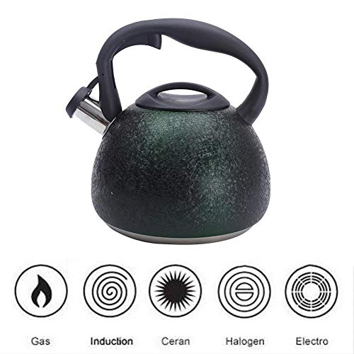 legius 3L Stainless Steel Whistling Tea Kettle Food Grade Cracks Grain Surface Tea Pot with Heat-Proof Handle - Stovetop Suitable for All Heat Sources