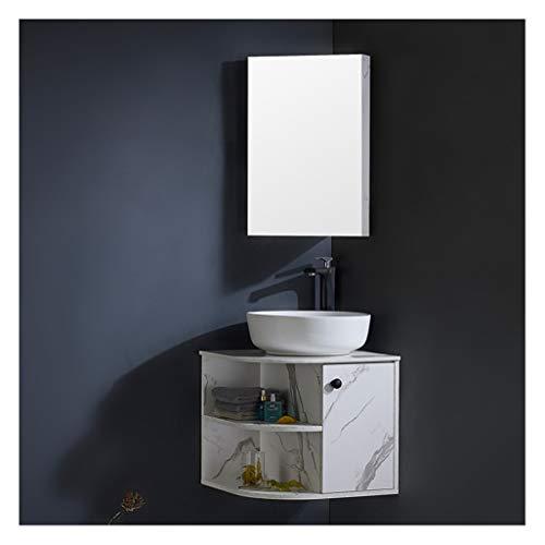 LCF Spiegelkast voor badkamer, opbergkast met spiegeldeuren, van hout, met plank, verstelbaar met kraan, verchroomd, afvoer, draaibaar