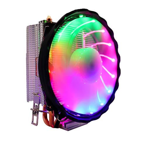 Gazechimp LED 120mm iluminación RGB Enfriador de CPU 4pin 2 Cobre Heatpipes de disipador de Calor para Intel Socket LGA 1151, 1155, 1156, 1155, 1366, 775 para