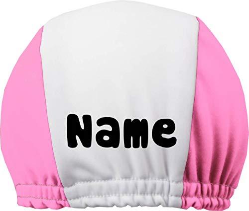 DRUCKEICH Zweifarbige Badekappe für Kinder und Erwachsene mit Ihrem Wunschtext oder Name/Fb. Rosa-Weiss/Gr. 1 (3-6Jahre)