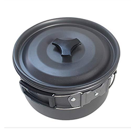 At6384 Utensilios de Cocina para Acampar Viajar Picnic Fuerte Senderismo Traje de Viaje Olla al Aire Libre Cocina al Aire Libre Picnic Pot-Black