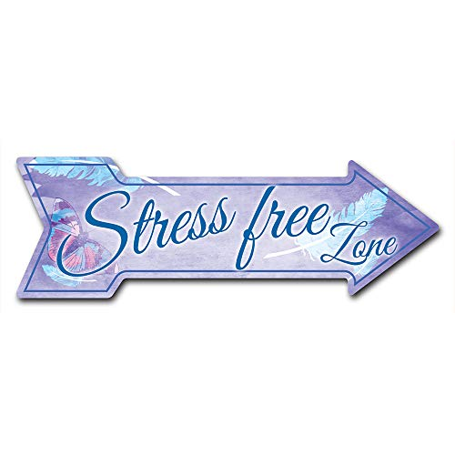 """SignMission Decal Art Stress Free Zone Decal Indoor/Outdoor Decor 24"""" Directional Sticker Vinyl Wall Decals"""