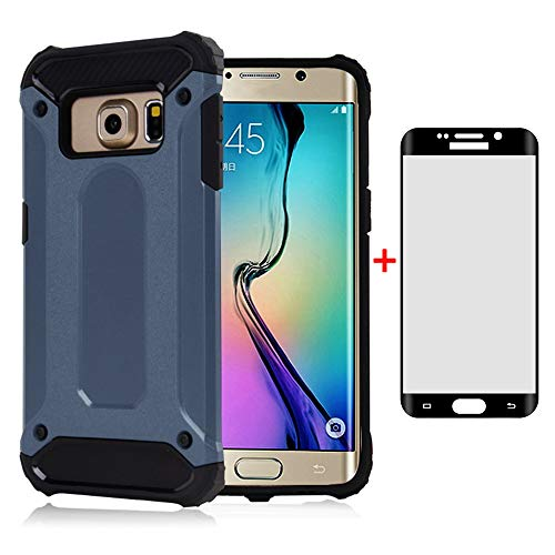 Phone Case for Samsung Galaxy S6 Edge Plus with Tempered Glass Screen Protector Cover and Cell Accessories Slim Silicone Dual Layer Armor Glaxay S6edge + S 6edge 6s 6 Edge+ Women Men Cases Blue