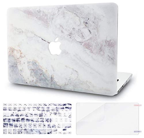 KECC MacBook Air 13 Pulgadas Funda Dura Case w/EU Cubierta Teclado + Lamina Protectora MacBook Air 13.3 Ultra Delgado Plástico {A1466/A1369}(Mármol Blanco 2)