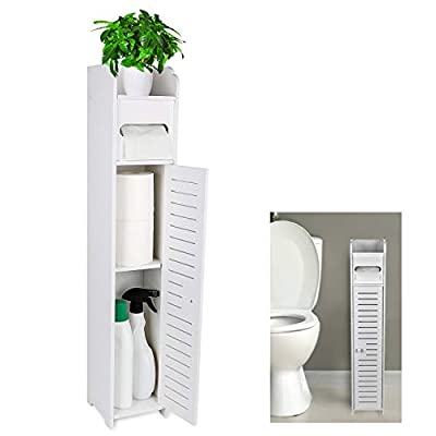Gotega Small Bathroom Storage Toilet Paper Storage Corner Floor Cabinet with Doors and Shelves Bathroom Organizer Furniture Corner Shelf for Paper Shampoo, White