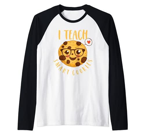 Biscotto Dell'insegnante Divertente I Teach Smart Cookies Maglia con Maniche Raglan