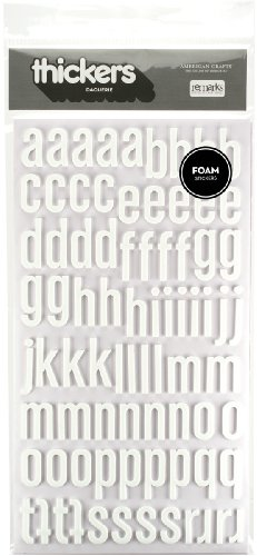 American Crafts Thickers Foam Letter Stickers, Daiquiri White (42743)