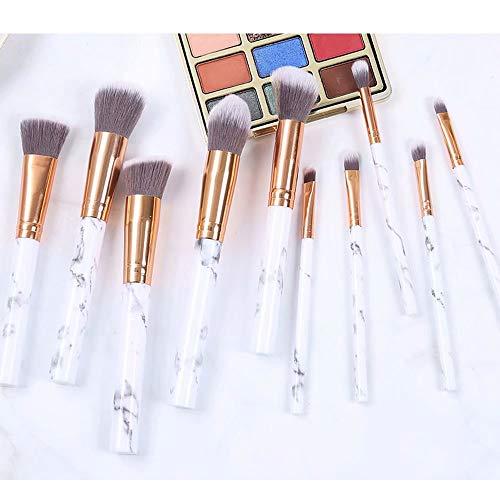 Maquillage Pinceaux 10 Pièces Marbre Motif Maquillage Professionnel Pinceau Maquillage Fondation Kabuki Mélange Concealer Soin du Visage Yeux Liquide Poudre Crème Pinceaux Ensembles