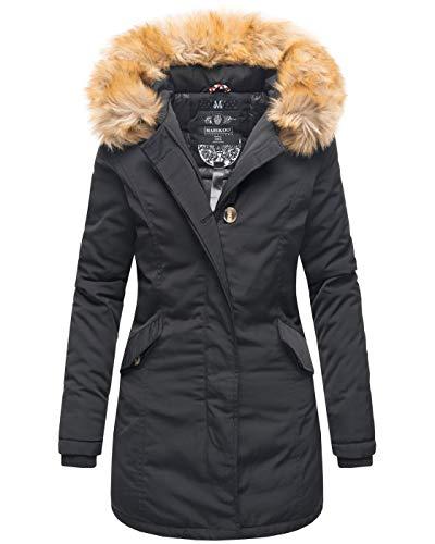 Marikoo Damen Winter Jacke Parka Mantel Winterjacke warm gefüttert B362 [B362-Karmaa-Schwarz-Gr.M]