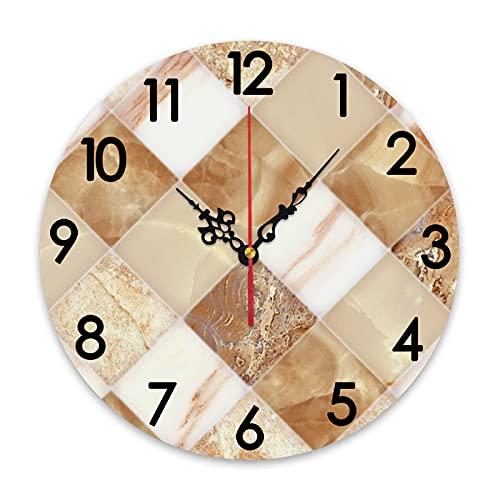 GEEVOSUN Reloj de Pared Redondo silencioso sin tictac Reloj de Pared y Piso Azulejos de mármol diseño de Fondo para Edificios, decoración del hogar para Sala de Estar, Cocina, Dormitorio y Oficina de