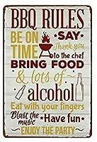 ブリキ メタル プレート サイン 2枚 バー メタル ティン サイン 12x8 インチ ホーム キッチン ベッドルーム バー サイン デコレーションのバーベキュー ルール