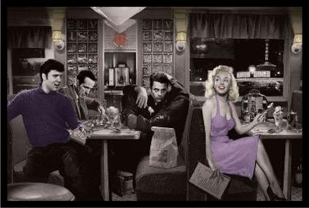 FRAMED Blue Plate Diner with James Dean Marilyn Monroe Elvis Presley and Humphrey Bogart by Chris Consani 36x24 Art Print Poster Wall Decor Celebrity Movie Stars Eating at Diner Icons Hollywood Sassy Heaven Diner