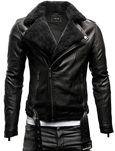 Crone Tjor Herren Shearling Lederjacke Biker Jacke mit Gürtel aus Rindsleder (M, Black/Black Shearling (Rindsleder))
