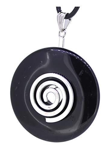 schwarzer Onyx Edelstein Donut Anhänger mit Energiespirale und Halsband, Edelsteindonut