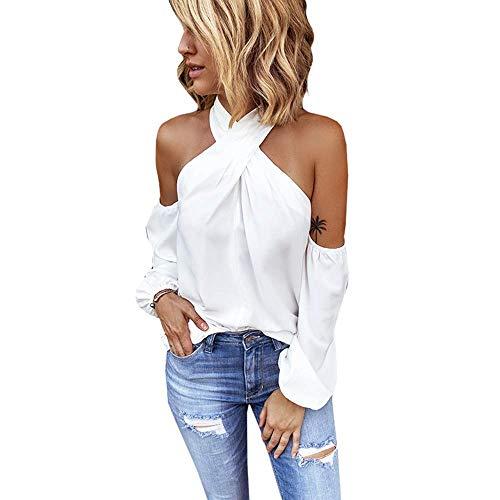 Minetom Schulterfrei Oberteil Damen Weiß Elegant Bluse Damen Sexy Schulterfrei Neckholder Langarmshirt Casual T-Shirt Weiß 34