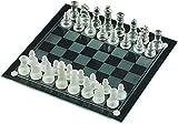 DJRH Conjunto de ajedrez, Juego de ajedrez de Vidrio Helado Negro con Tablero de Espejo Lásico Junta de ajedrez de ajedrez del Juego Gar Guerreros Juego de ajedrez, Amigos Juntos, Fiestas
