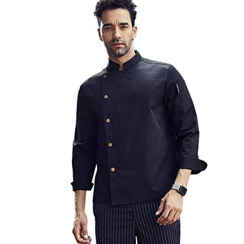 Long Sleeve Fastener Chef Coat Hotel Restaurant Kitchen Chef Work Jacket Black