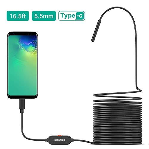 DEPSTECH Endoscope USB 3 en 1 Ultra-Mince 5.5mm Semi-Rigid Câble Étanche IP67 HD Caméra Serpent Caméra d'inspection avec 6 LED Réglables et Adaptateur USB- 5M