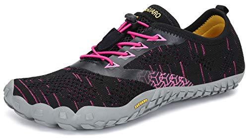 SAGUARO Barfußschuhe Barfussschuhe Damen Minimalistische Trail Laufschuhe Zehenschuhe Joggen Wandern Training Barfuß Sportschuhe Fitnessschuhe Frauen, Rot, 39 EU