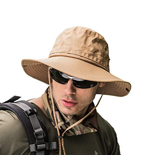 Fishing hat Wide Brim Sun Protection Hat with Breathable Safari hat and Fisherman hat Hiking Hats for Man Woman (Khaki)