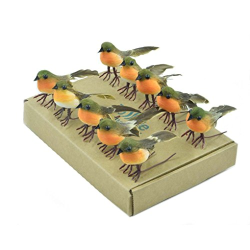 10PCS Robin Bird Christmas Tree Decoration Craft VERY CUTE Artificial Feather