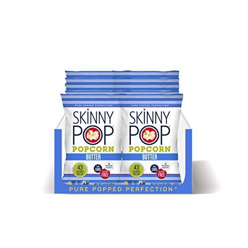 SkinnyPop Butter Popcorn, 12ct, 4.4oz Grocery Size Bags, Skinny Pop, Healthy Popcorn Snacks, Gluten Free