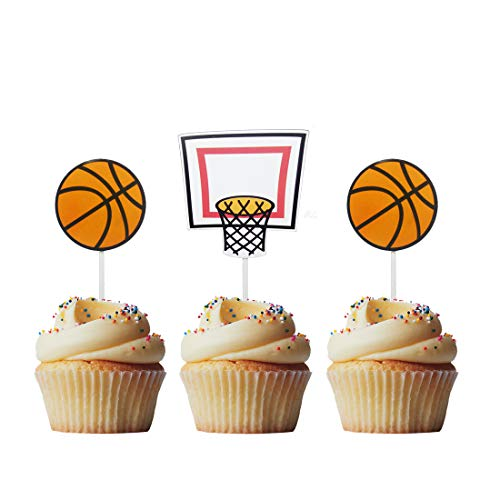 Morndew 20 PCS Sports Fan with Basketball backboard Shooting Pattern Cupcake Toppers for Theme Party Birthday Party Wedding Party Decorations