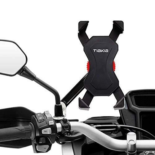Tiakiaバイクスマホホルダー振れ止め脱落防止オートバイスマートフォンGPSナビ携帯固定用マウントスタンド防水に適用iphone78XxperiaHUAWEIandroid多機種対応角度調整360度回転脱着簡単強力な保護(ブラック)
