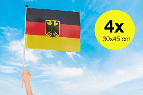 TK Gruppe Timo Klingler 4x Deutschlandfahne mit Adler Fanartikel Deutschlandflagge Flagge, Fahne Deutschland schwarz rot gold WM 2018, Fußball Weltmeisterschaft