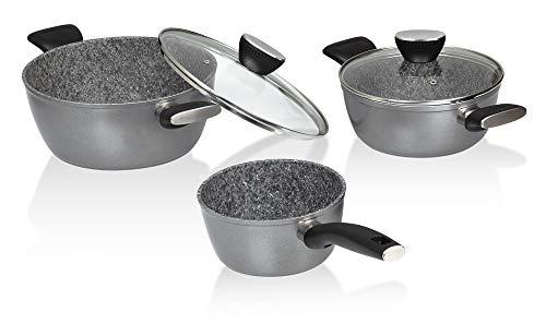 Jata Hogar HBAT3700 Batería de Cocina, Aluminio Forjado, Gris, 24 cm