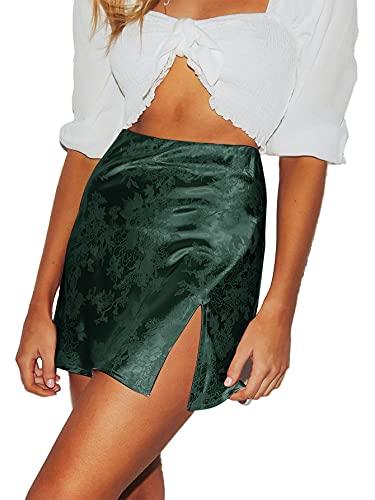 LYANER Women's Elegant Jacquard Side Split Slit Zipper High Waist Mini Short Skirt Dark Green Medium