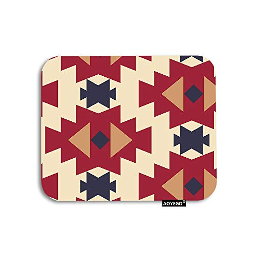 AOYEGO Tribal Mouse Pad American Aztec Geometric Boho Triangles Diamond Gaming Mousepad Rubber Large Pad Non-Slip for Computer Laptop Office Work Desk 9.5x7.9 Inch