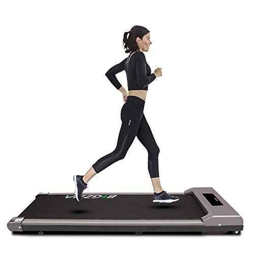 Under Desk Treadmill Motorised Treadmill Portable Walking Running Pad Flat Slim Machine with Remote Control & LCD Display for Home Office Gym Use, Installation Free (Light Grey)