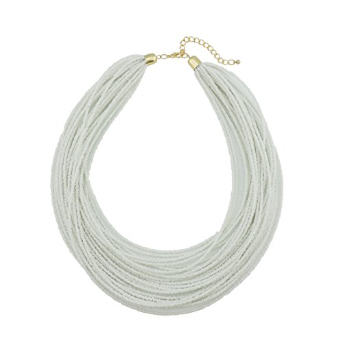 Bocar Multi Layer Chunky Bib Statement Seed Beads Cluster Collar Necklace for Women Gift (NK-10351-white)