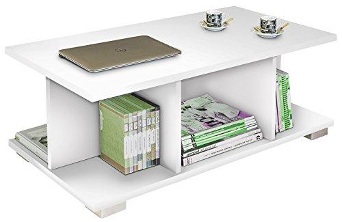 Abitti Mesa de Centro Color Blanco Brillo de salon Comedor, 5 Compartimentos, Tapas de 22mm para salon Comedor. 90cm Ancho x 50cm Fondo x 35cm Altura