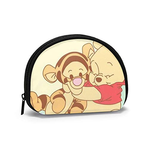 Coin Purse Change Wallet, Winnie The Pooh and Tigger Coin Pouch Portable Shell Storage Bag for Women Girls