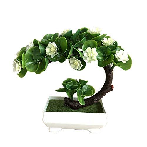 MissZZ Künstliche Blumenpflanze Kleine Lotusblume Bonsai Simulation Lotus Blumen Bonsai ted Künstliche Zimmerpflanzen für Desktop-Display Hausgarten Dekoration Regal Fenster Ornamente (Weiß)
